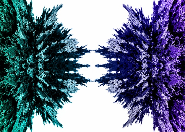 Symmetrical green and purple magnetic metal shaving design on white backdrop Free Photo