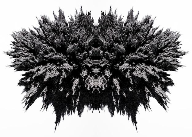 Symmetry magnetic metal shaving on white backdrop Free Photo