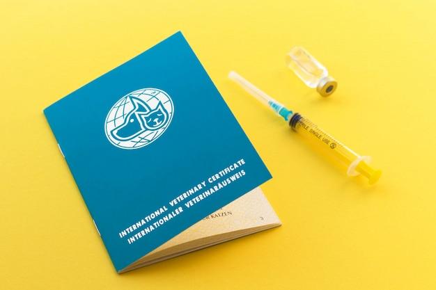 Шприц, стеклянный флакон с жидкостью и паспорт животного для указания прививок и номер микрочипа. международный ветеринарный сертификат Premium Фотографии