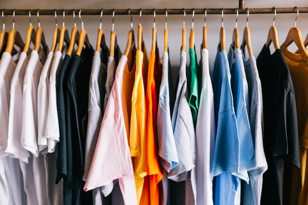 T-shirts on hangers Free Photo