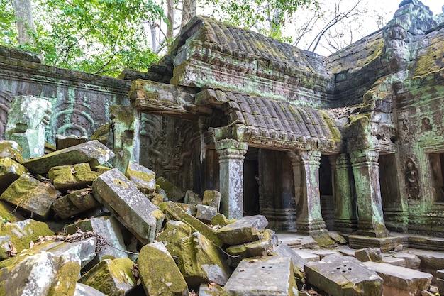 Руины храма та пром в ангкор-ват в сием рип, камбоджа Premium Фотографии