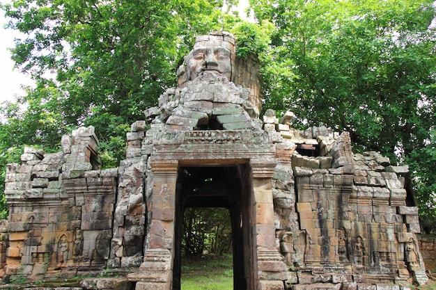 Ta prohm temple, siem reap, cambodia. Premium Photo
