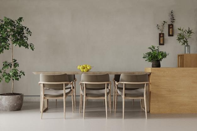 방에 테이블과 의자 프리미엄 사진