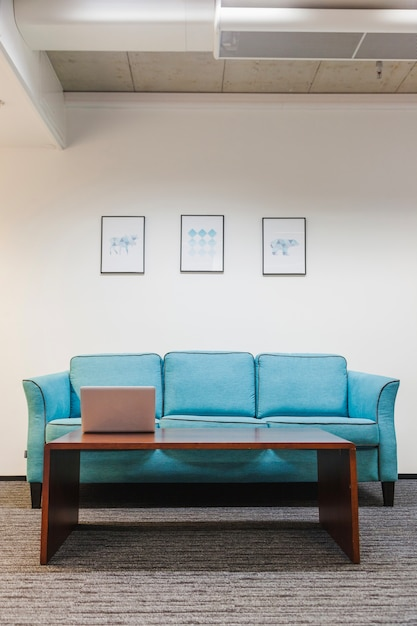Table And Sofa On Rug In Office Free Photo