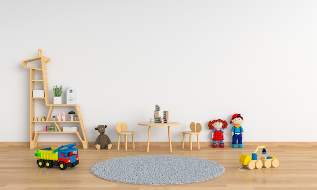 Table and chair in white child room Premium Photo