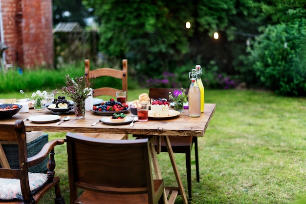 Table food lunch variety concept Premium Photo