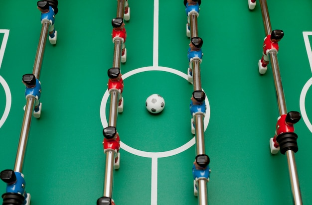 Table football, top view. playing ball. Premium Photo