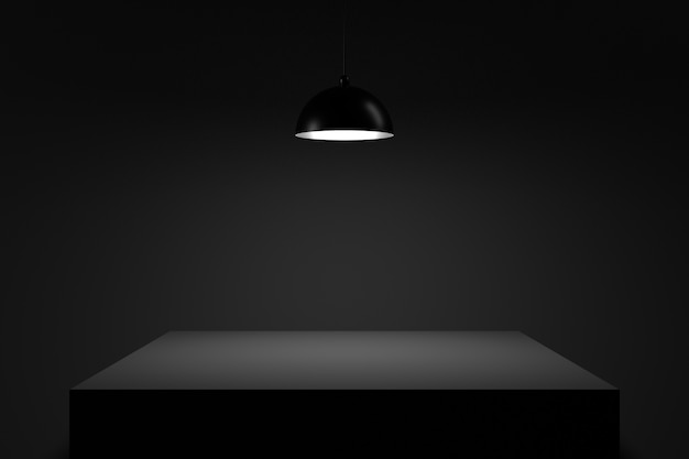 Стол в темноте. 3d-рендеринг. Premium Фотографии
