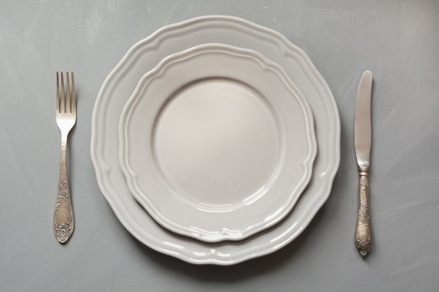 Table place setting on gray. top view. concept. Premium Photo