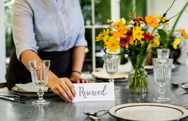 Table reserved in a cafe Premium Photo
