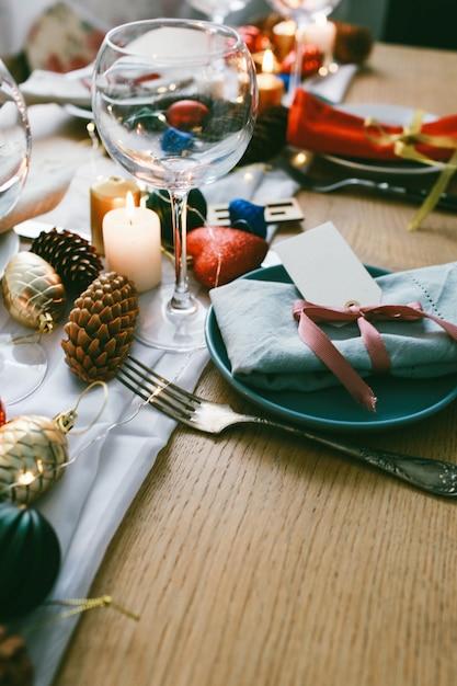 Table served for christmas dinner in living room Premium Photo