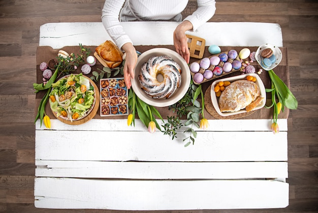 For a table set with food, easter holiday. Free Photo