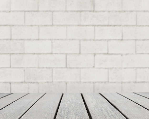table surface looking out to grey brick wall photo free download