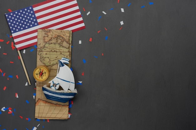 Table top view aerial image of decoration the sign of usa columbus day Premium Photo