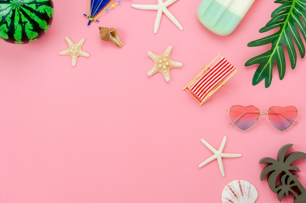 Table top view aerial image of item for summer holiday Premium Photo