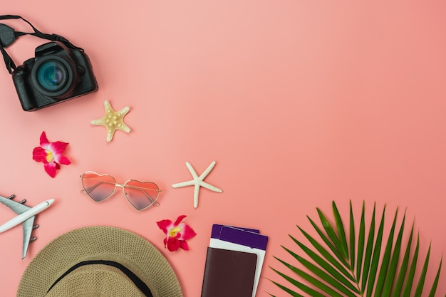 Table top view food items of travel summer holiday and vacation background concept Premium Photo
