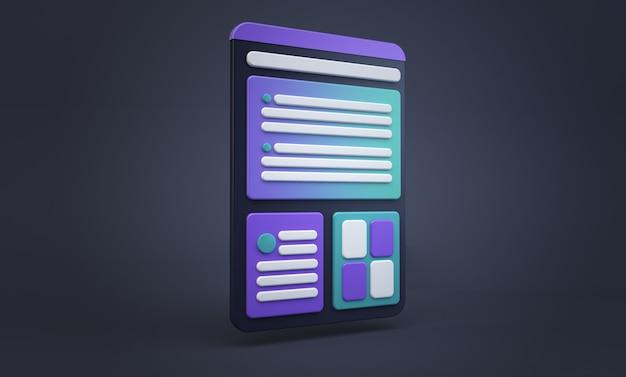 Tablet cartoon ux design concept Premium Photo