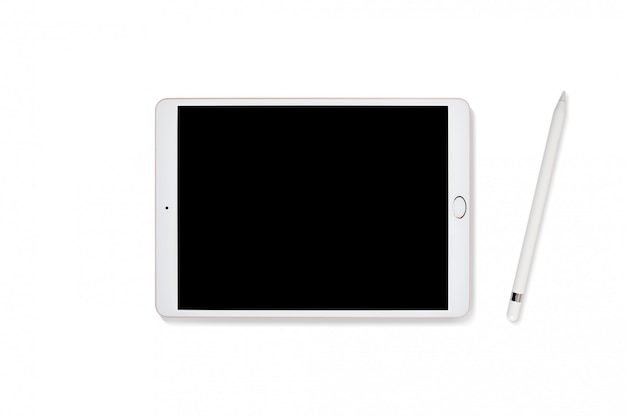 Tablet computer and pencil isolated on white Premium Photo