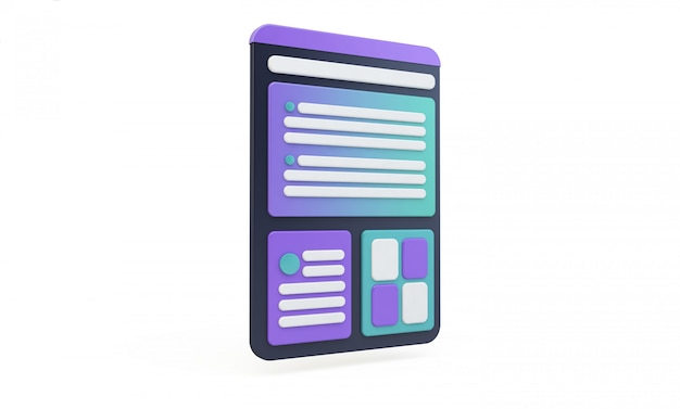 Tablet interface isolated ux design Premium Photo
