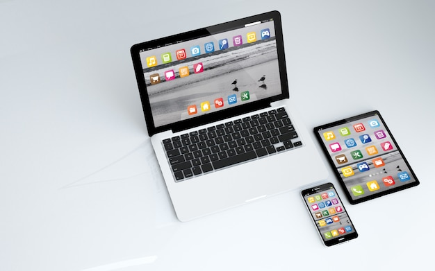 Tablet, laptop and smartphone Premium Photo