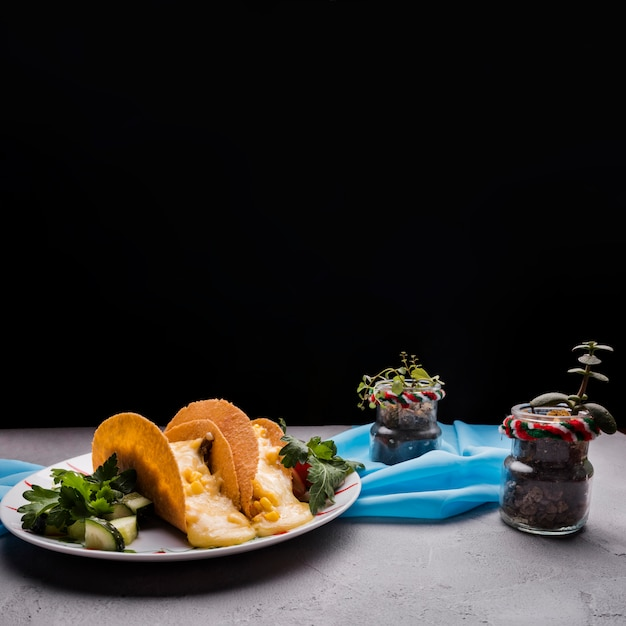 Tacos among vegetables on dish near houseplants and napkin on table Free Photo