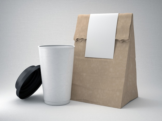 Take away coffee cup and bag Free Photo