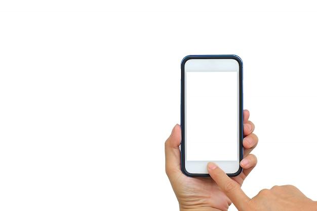 Принимая фото с мобильного телефона на белом фоне Premium Фотографии