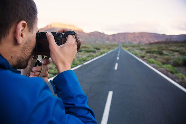 Taking picture of road landscape Free Photo