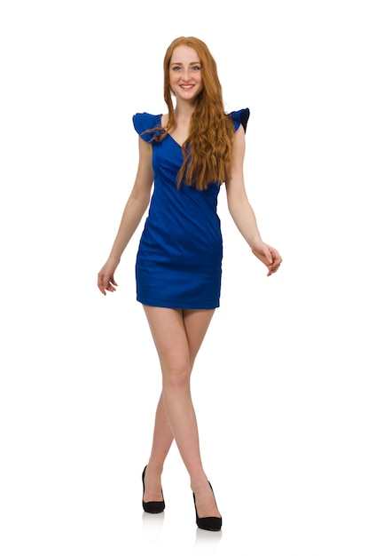 Tall model in blue dress isolated Premium Photo