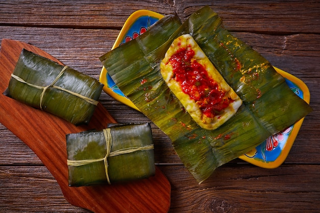 Tamale mexican recipe with banana leaves Premium Photo