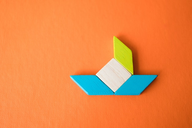 Tangram puzzle use for education and creative concept Premium Photo