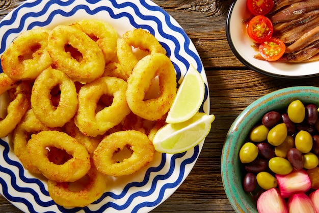 Tapas spanish seafood  fried calamari Premium Photo