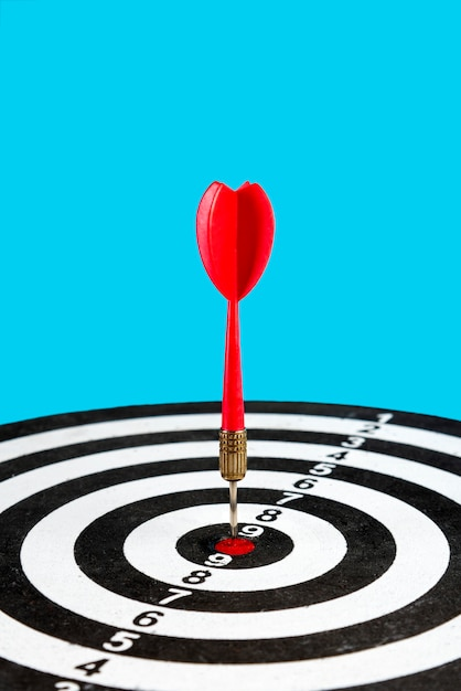Target with arrow in the center. hit the target. Premium Photo