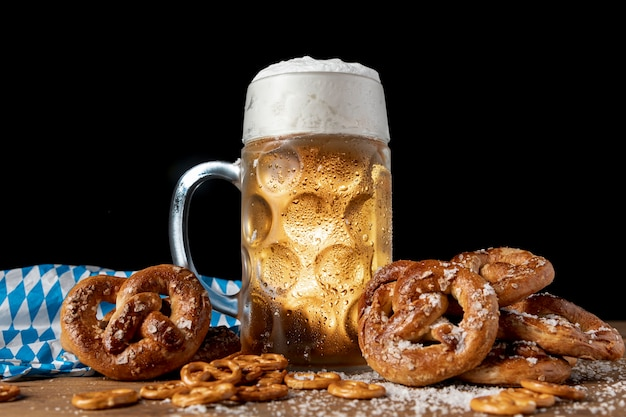 Tasty bavarian festival snacks on a  table Free Photo