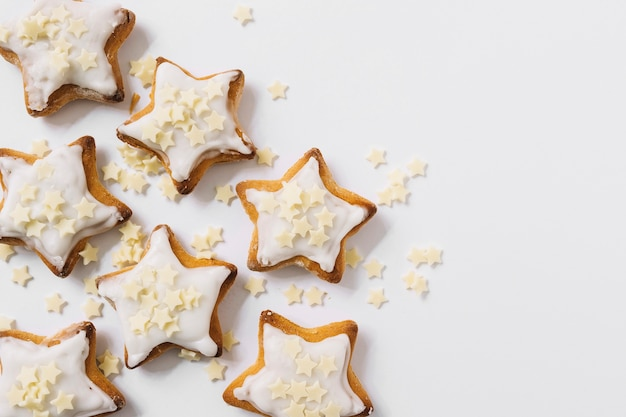 Tasty biscuits with sugar starlets Free Photo