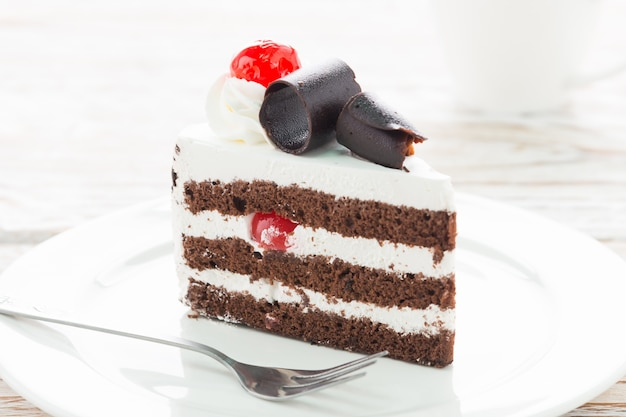 Tasty chocolate and cream cake Free Photo