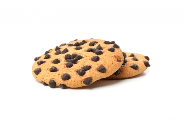 白い背景で隔離のおいしいチョコレートチップクッキー Premium写真