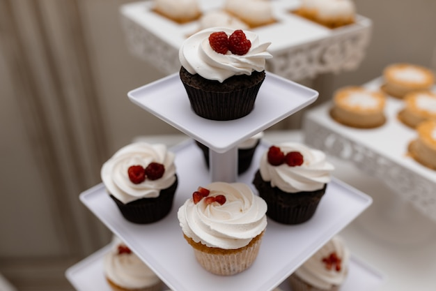 Tasty chocolate cupcakes with raspberry and whipped cream on the candy bar Free Photo