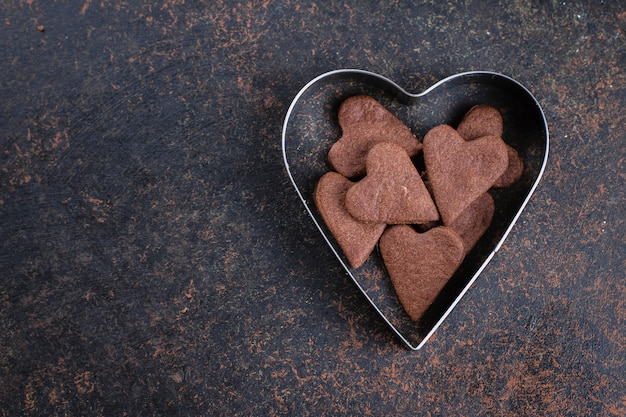 Tasty chocolate heart shaped cookies for valentines day Premium Photo