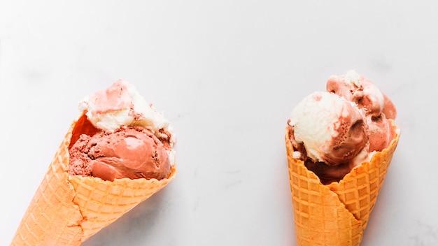Tasty chocolate ice cream in waffle cone Free Photo