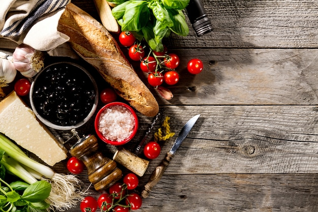 Tasty Fresh Appetizing Italian Food Ingredients For Cooking On Old Rustic Wooden Background Free Photo