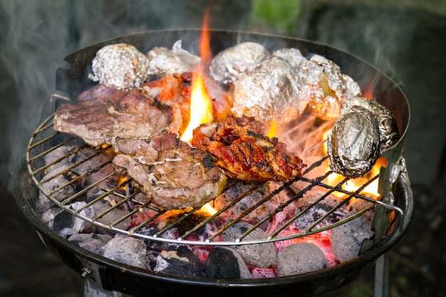 Tasty fresh appetizing meat beef on grill cooking on open fire on grill grid. nature background. closeup. Free Photo