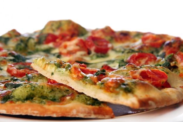 Tasty and fresh salami pizza Free Photo