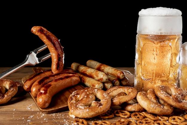Tasty oktoberfest snacks on a table Premium Photo