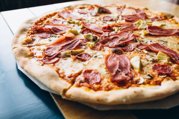 Tasty pizza with meat Free Photo