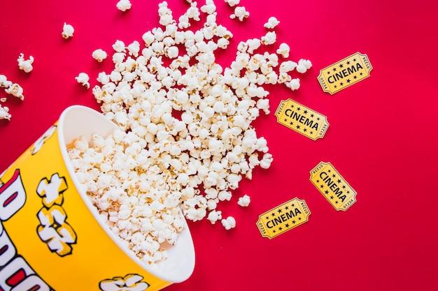 Tasty popcorn on red Free Photo