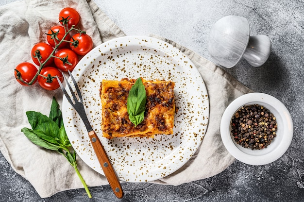 Tasty portion of italian meat lasagna with melted mozzarella Premium Photo