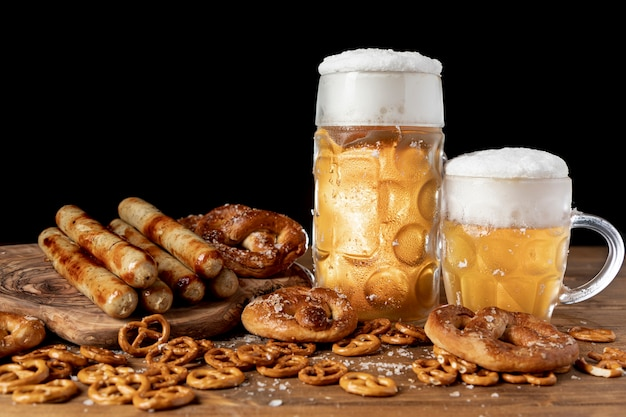 Tasty set of bavarian snacks and beer Free Photo