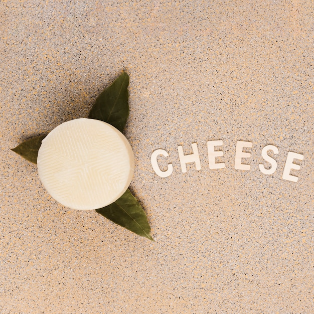Tasty spanish manchego cheese over bay leaves with cheese text on marble background Free Photo