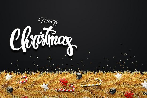 Tcクリスマスカード、クリスマスツリーの緑の枝、ボール、星、キャンディー、雪片で飾られた Premium写真